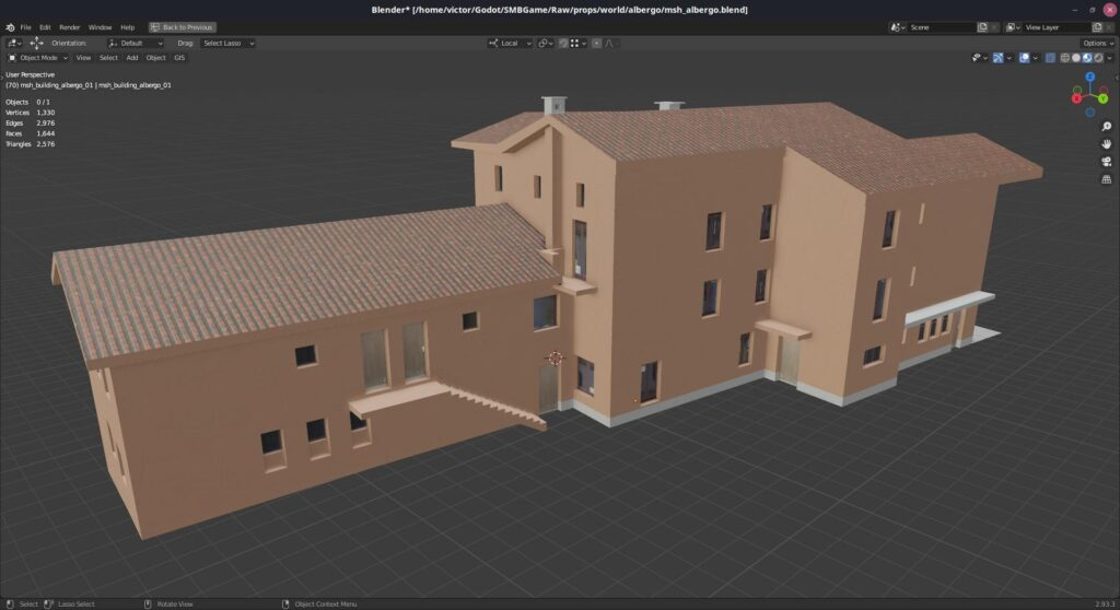 The low resolution hotel, without the high detail mesh